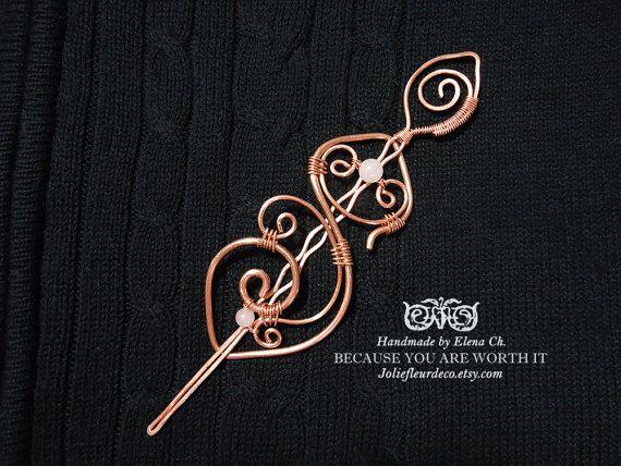 Large Copper Hair Clip, Copper Hair Barrette, Pink Quartz Hair Stick, Quartz Hair Jewelry, Gemstone Jewelry, Bun holder, Shawl Pin