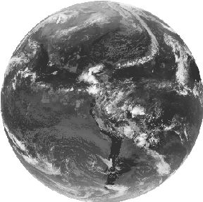 An infrared image of the earth.
