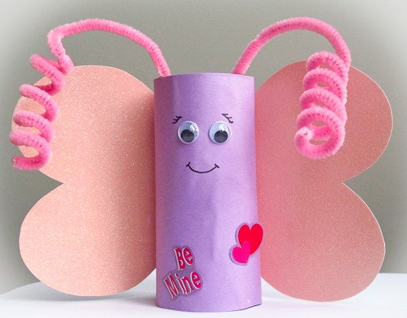 Valentine butterfly art craft kit kids toddler children for Recycle toilet paper rolls crafts