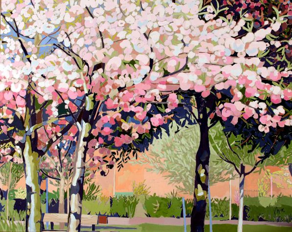 japanese blossom - Japanese Garden Cherry Blossom Paintings