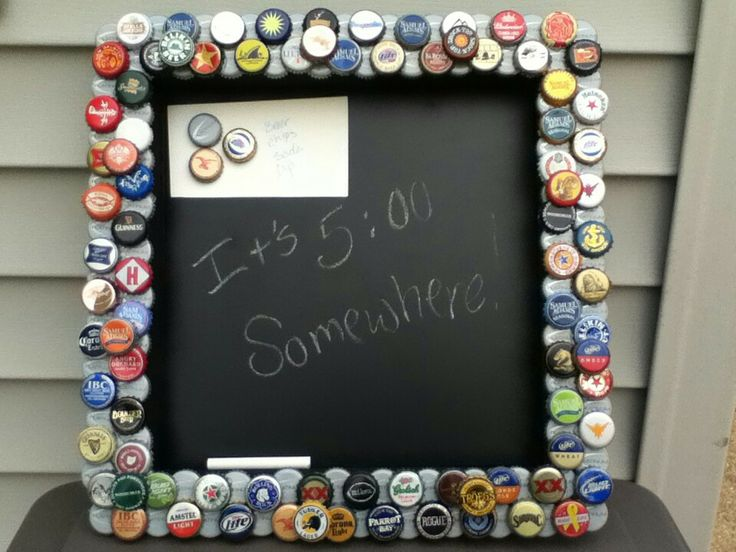 My Bottlecap Magnetic Chalkboard Used An Unfinished
