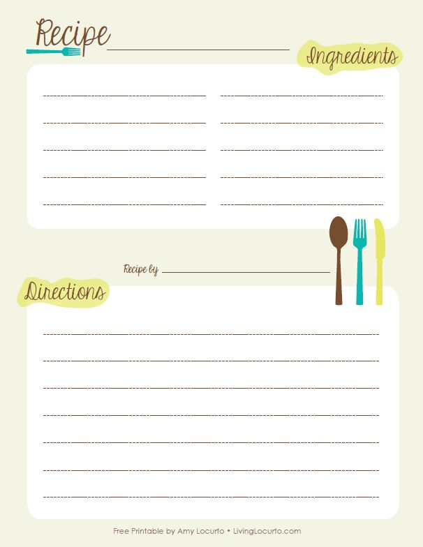 Blank Recipe Template With Free Printable Cards Book For Pages