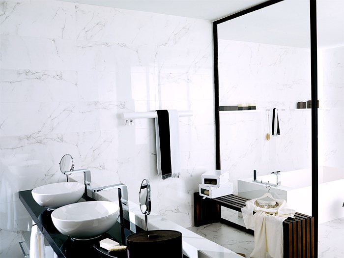 Create a look of luxury for less with Porcelanosa's Marmol Carrara Blanco. Marmol Carrara Blanco is a large format, rectified porcelain tile that mimics natural Carrara marble. Achieve the look of true marble with the durability of porcelain tile
