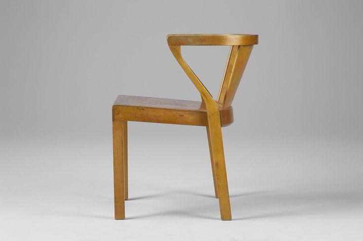"Alvar Aalto ""Kakkonen"" Chair No. 2. Laminated and solid birch. Metal Finmar tag. Co-designed by Alvar Aalto and Otto Korhonen in 1930. Illustrated in Alvar Aalto Designer, Alvar Aalto museum p. 69. Produced by Huonekalu-ja Rakennustyötehdas Oy Turku."