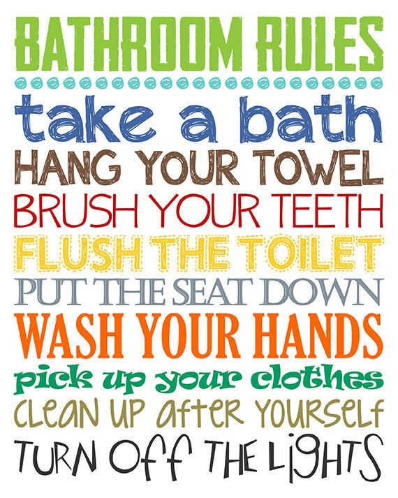 Bathroom rules boys bathroom decor boys bathroom wall for Bathroom decor rules