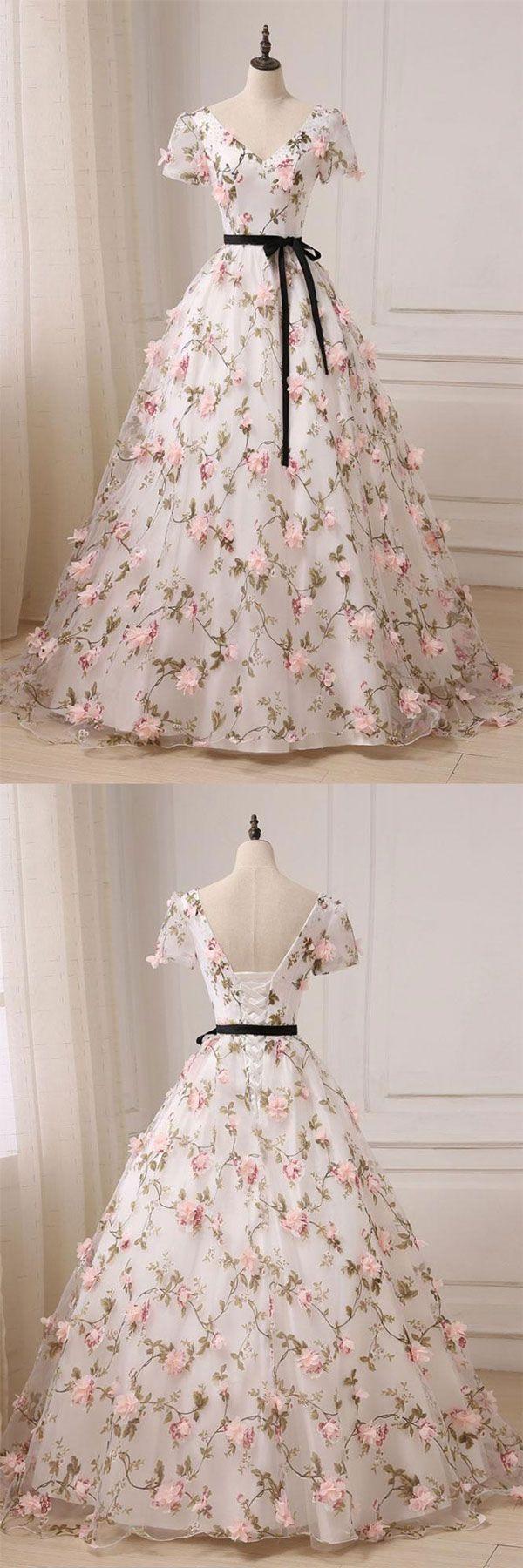 Unique v neck 3D applique long prom dress, evening dress, sweet 16 dress