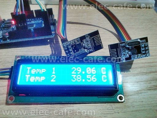 Multiple Nodes nRF24L01+ Wireless Temperature DS18B20 with Arduino UNO (2 Transmitter , 1 Receiver) | Elec-Cafe.Com