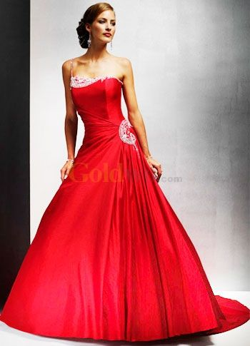 Perfect Red A Line Strapless Floor Length Pleated Wedding Gown