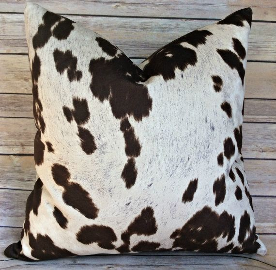 Cowhide Pillow cover, faux cowhide, chocolate and ivory pillow cover