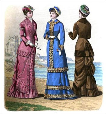 18th and 19th Century: Women's Dress Fashions for July 1881