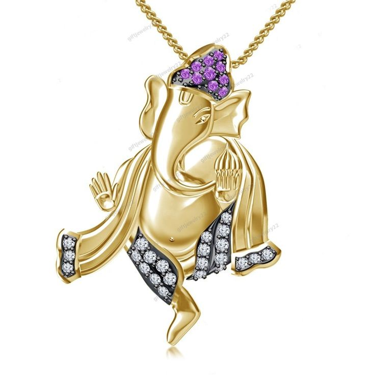 """14K Yellow Gold Plated New Fashion Design Ganesha Pendant 18"""" Chain Free Pouch #giftjewelry22 #GaneshaPendant"""