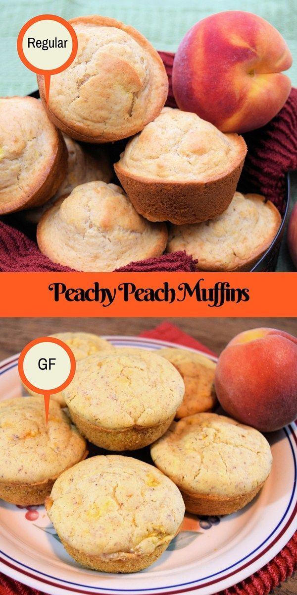 Delicious Peachy Peach Muffins made two different ways. Regular and Gluten Free. #blessedbeyondcrazy #peaches #muffins