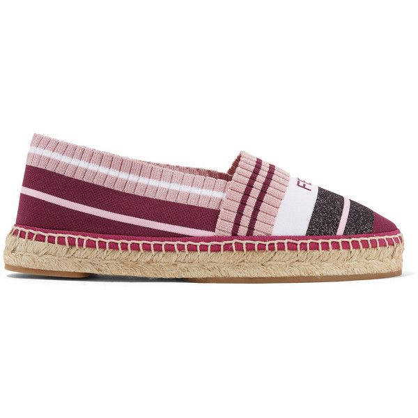 Fendi Logo-woven striped metallic stretch-knit espadrilles (180 KWD) ❤ liked on Polyvore featuring shoes, sandals, braided sandals, fendi shoes, slip on sandals, summer sandals and summer shoes