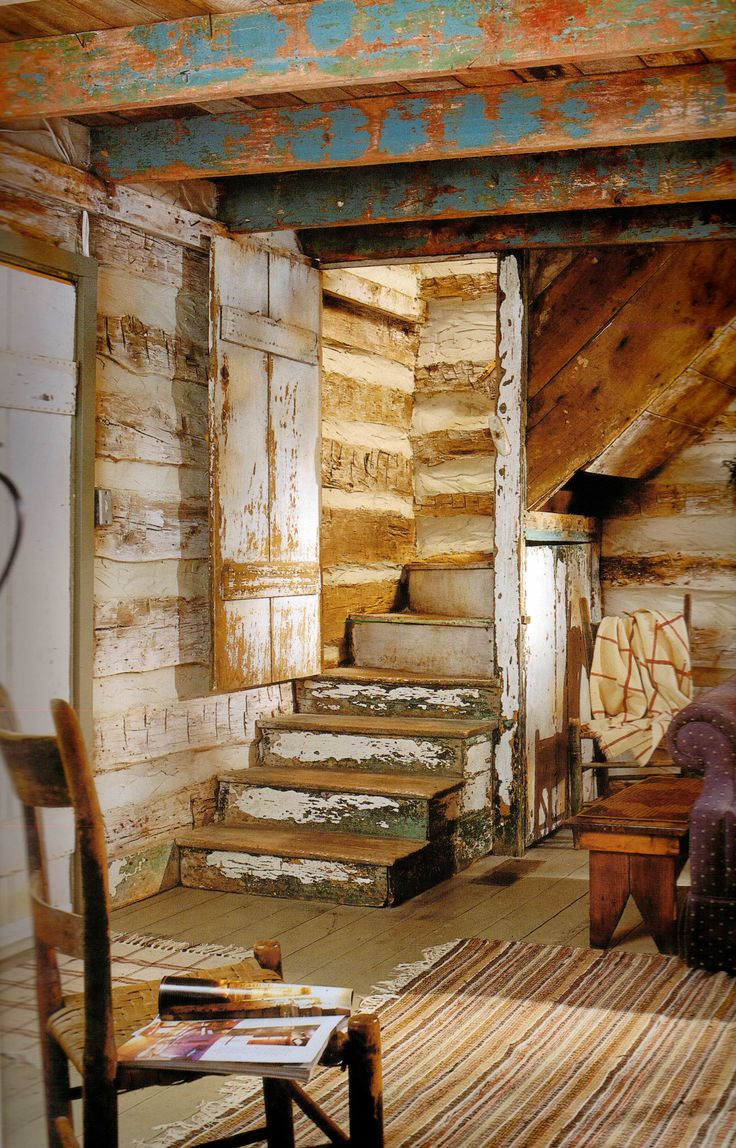 staircase- love the paint on the beams!