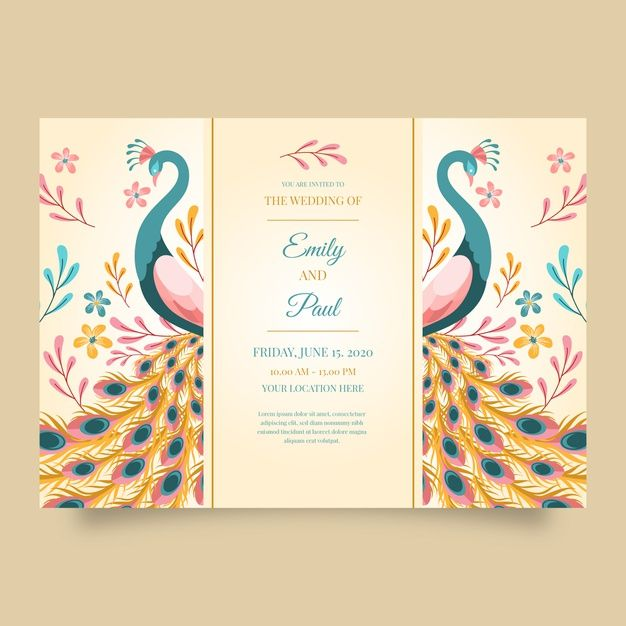 Wedding Invitation Template With A Peacock Wedding Invitation Templates Wedding Invitation Card Design Wedding Invitation Card Template