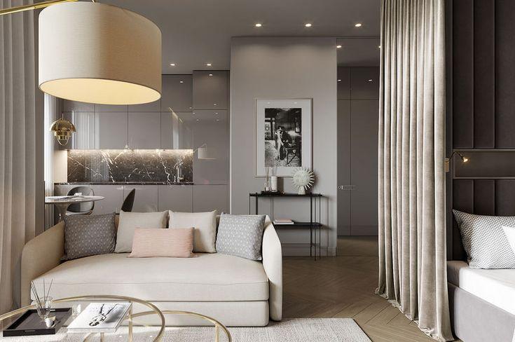 Szürke árnyalatok, minőségi anyagok, fényes felületek jellemzik a 40 négyzetméteres lakás berendezésének terveit, melyet egy fiatal hölgy részére készített a belsőépítész.