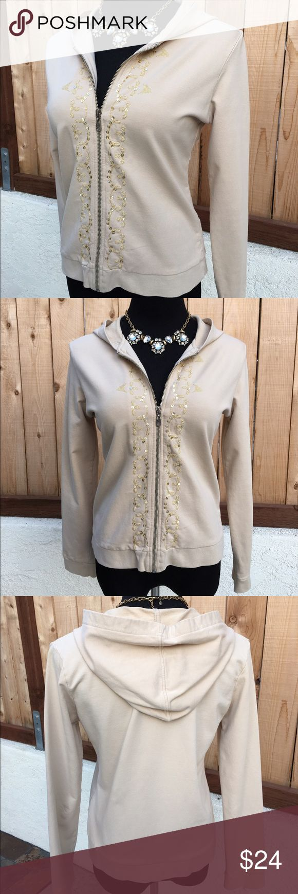 "Cream Zip Up Hoodie Embroidered with gold metallic thread & gold sequins. This long sleeve, cream colored zip up hoodie is in excellent preloved condition. Measurement from pit to pit is 19.25"". NO spots or damage. From Saks Fifth Avenue. BCBGMaxAzria Tops Sweatshirts & Hoodies"