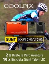 In perioada 21 februarie - 31 decembrie 2013, la inregistrarea aparatului foto Nikon COOLPIX AW110 pe nikonisti.ro, primesti instant doua bilete la Parc Aventura in Brasov si participi automat la Tombola ce are ca premiu lunar o SUPER bicicleta Giant Talo