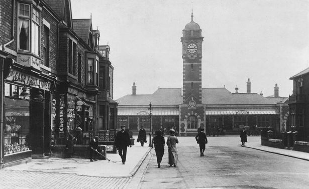 Whitley Railway Station, built in 1908 with the clock tower added in 1910, from the book, Whitley Bay Remembered Part 2: The Town Centre, by Charlie Steel, Summerhill Books