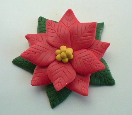 Make into a pin for Mom! - Polymer Clay Poinsettia Tutorial