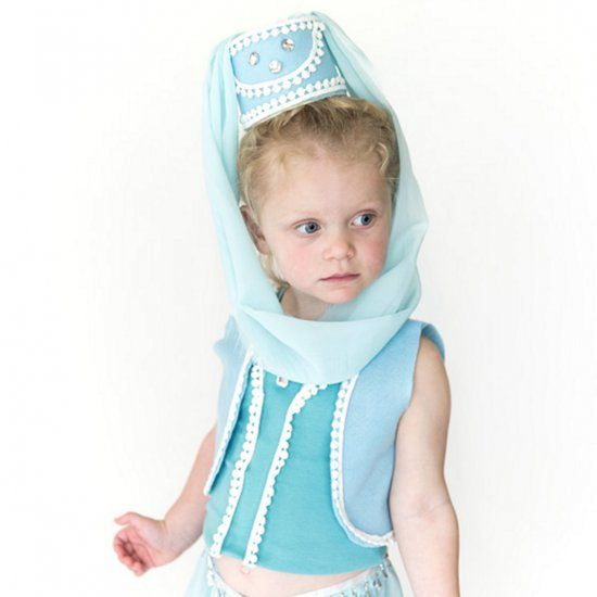 Easy genie costume for Halloween! The hat, top, and vest are no-sew. Pants are an easy sewing project- instructions included.