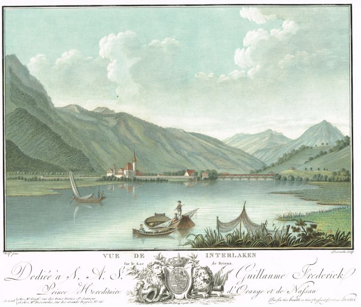 Vue de Interlaken sur le lac de Brienz - Aquatinte - gravure imprimée en couleurs par Charles-Melchior DESCOURTIS (1753-1820) d'après Caspar WOLFF (1735-1798) - MAS Estampes Anciennes - MAS Antique Prints