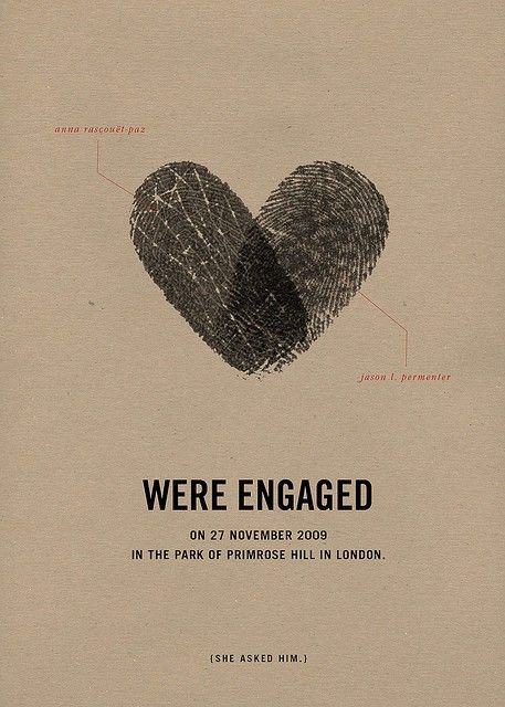 clever little engagement notice with fingerprints.