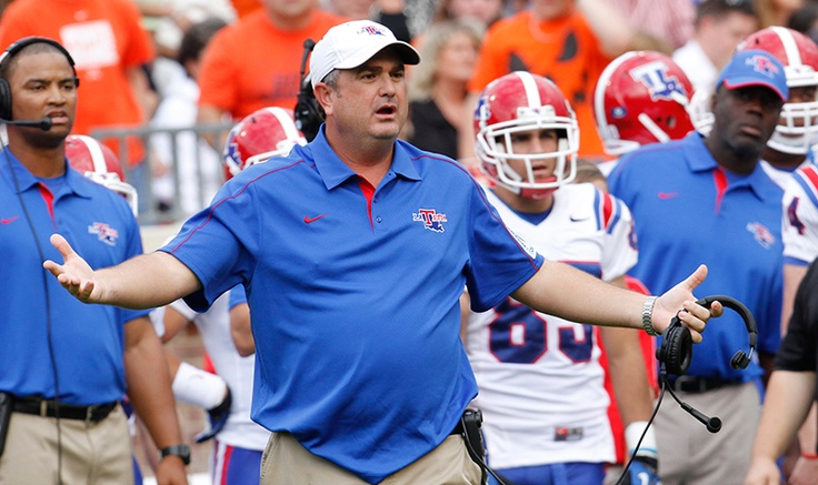 Sonny Dykes giving the referees a rough time on the sidelines in the LA Tech vs. UVa game.