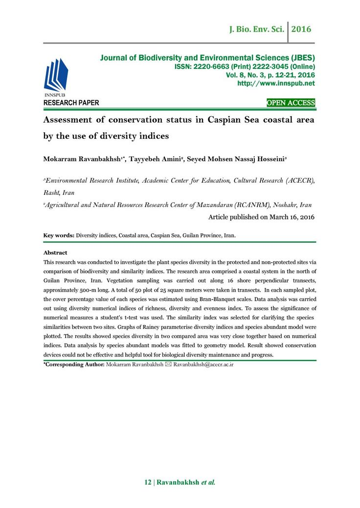 Assessment of conservation status in Caspian Sea coastal area by the use of Diversity Indices