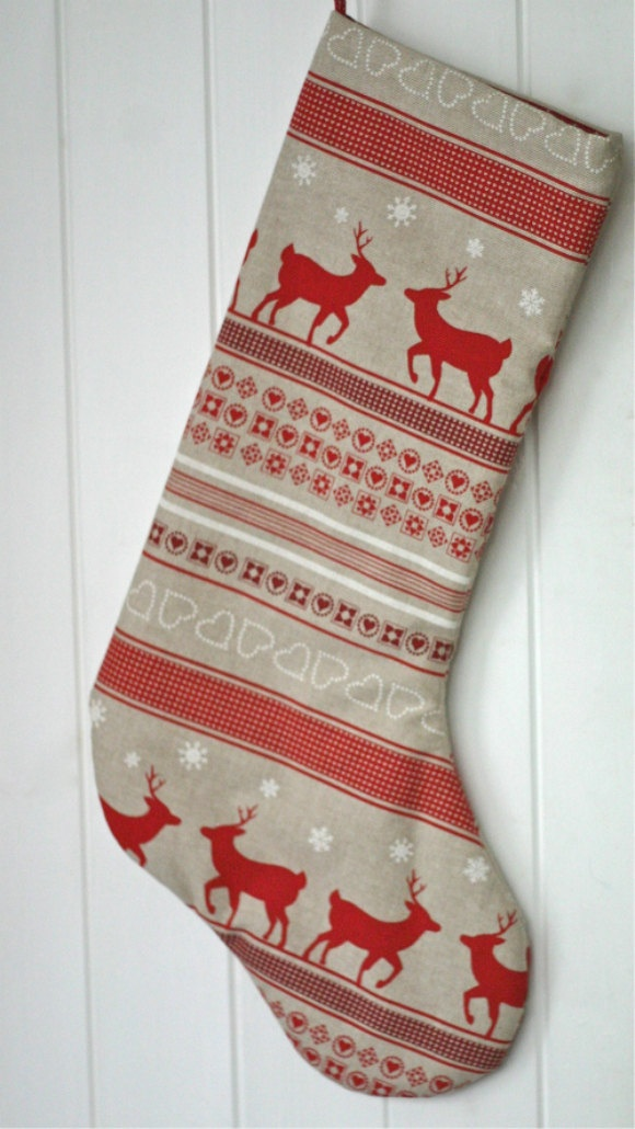 Three stockings personalised with the letters N
