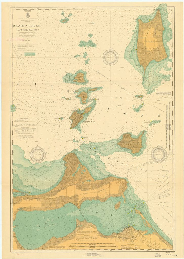 A beautiful, high quality print of the historical map of the Lake Erie Islands and Sandusky Bay (west end of Lake Erie) from 1917. This map is professionally printed on top of the line digital equipme