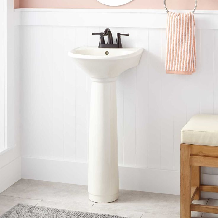 Farnham Mini Pedestal Sink - we ordered this sink for our tiny bathroom and we are very happy with the actual product so far. The quality is good and the size is ideal for our space. At last, our tiny bathroom reno can be done!
