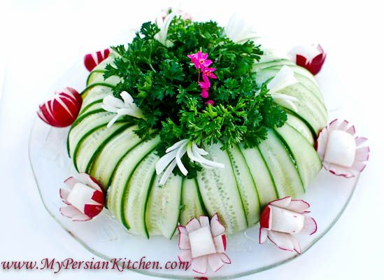 Iranian Potato Salad Wrapped in Cucumber Slices