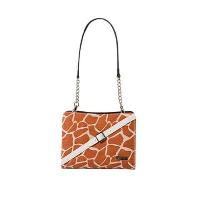 """Geneva Cream and orange giraffe-print canvas features double faux leather """"belt"""" accents with silver buckle detailing. The pièce de résistance? Rich gold threading throughout the fabric means Gianna glistens like a setting African sun."""