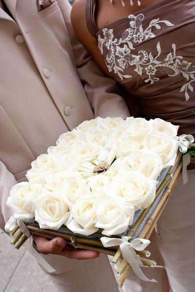 white rose ring pillow