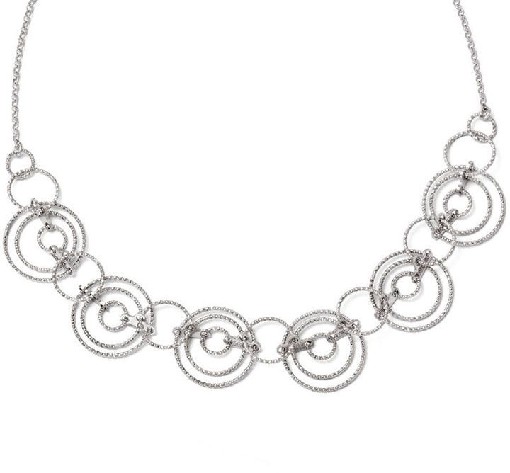 """Zales Laser-Cut Interlocking Circles Necklace in Sterling Silver - 20"""""""