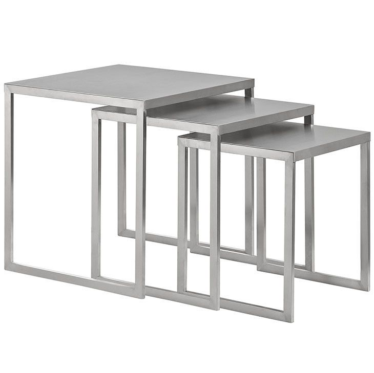 modern steel furniture. modway furniture modern rail stainless steel nesting table in silver eei2099slv n