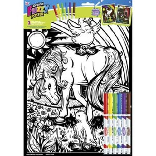 "11"" x 15"" Fuzzy Poster Set by RoseArt - Unicorn/Farm Animals"