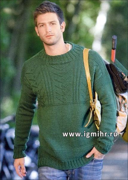 Мужской свитер узоры зеленые губы