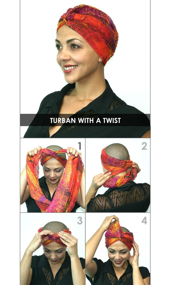 How to Tie a headscarf - Turban with a Twist...Your Mom had to learn all these tricks after she had radiation for 7 weeks (March 2008). All her hair fell out, in the morning her pillow was full of hair...