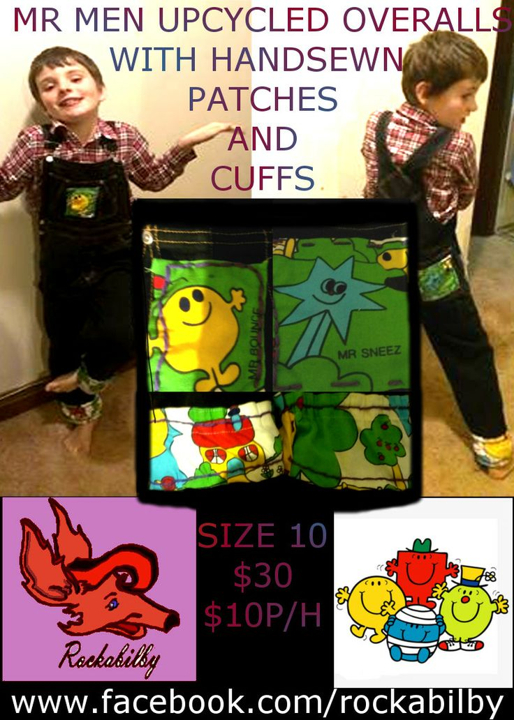 Mr Men Overalls Upcycled by Rockabilby Custom Orders Welcome www.facebook.com/rockabilby