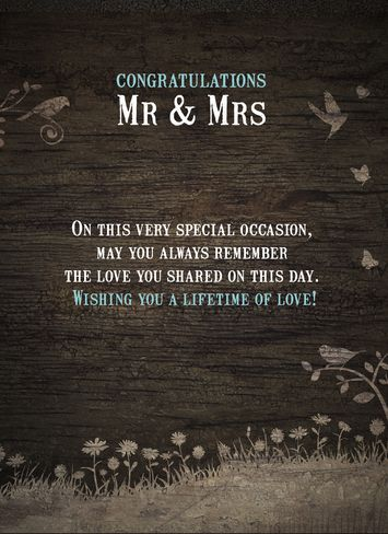 Card Town Weddings - Congratulations Mr & Mrs Name, On this very special occasion... - Personalised Wedding Greeting Card