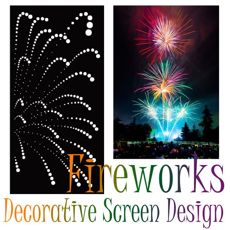 Decorative screen/panel design 'Fireworks' by QAQ. This design can be made in any color in a variety of materials, and looks great when placed on a lightbox or multi-colored wall.