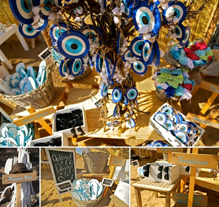 Flip flops, sunglasses and the greek eye to keep the evil away!Fantastic nad creative gifts to the guests!