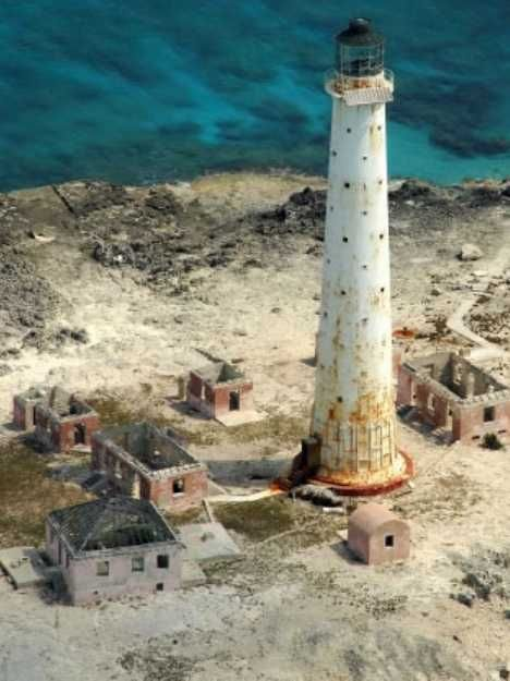 The abandoned lighthouse in Great Issac Cay, Bahamas - a small island NNE of the Bimini Islands.