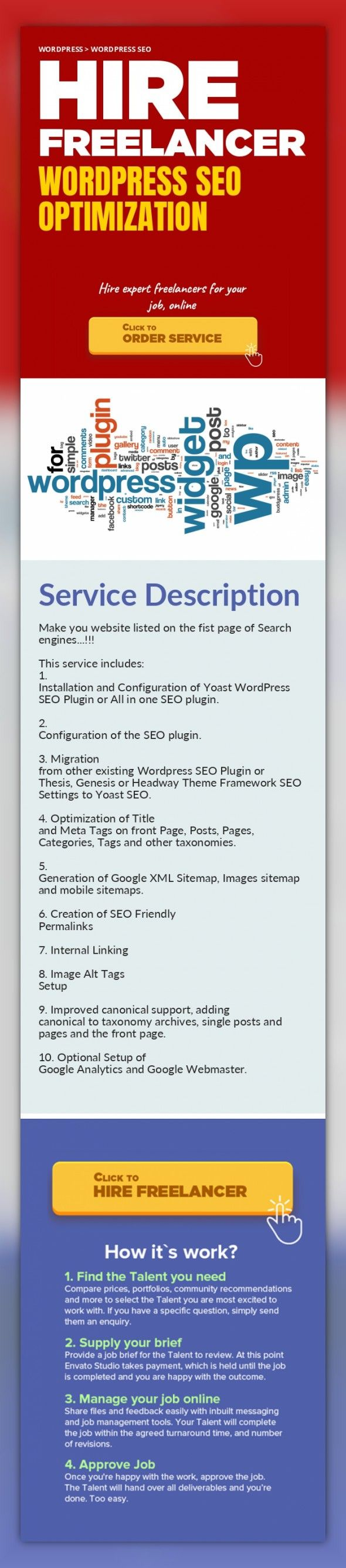 Wordpress SEO Optimization WordPress, WordPress SEO   Make you website listed on the fist page of Search engines...!!!    This service includes:  1. Installation and Configuration of Yoast WordPress SEO Plugin or All in one SEO plugin.    2. Configuration of the SEO plugin.    3. Migration from other existing Wordpress SEO Plugin or Thesis, Genesis or Headway Theme Framework SEO Settings to Yoast ...
