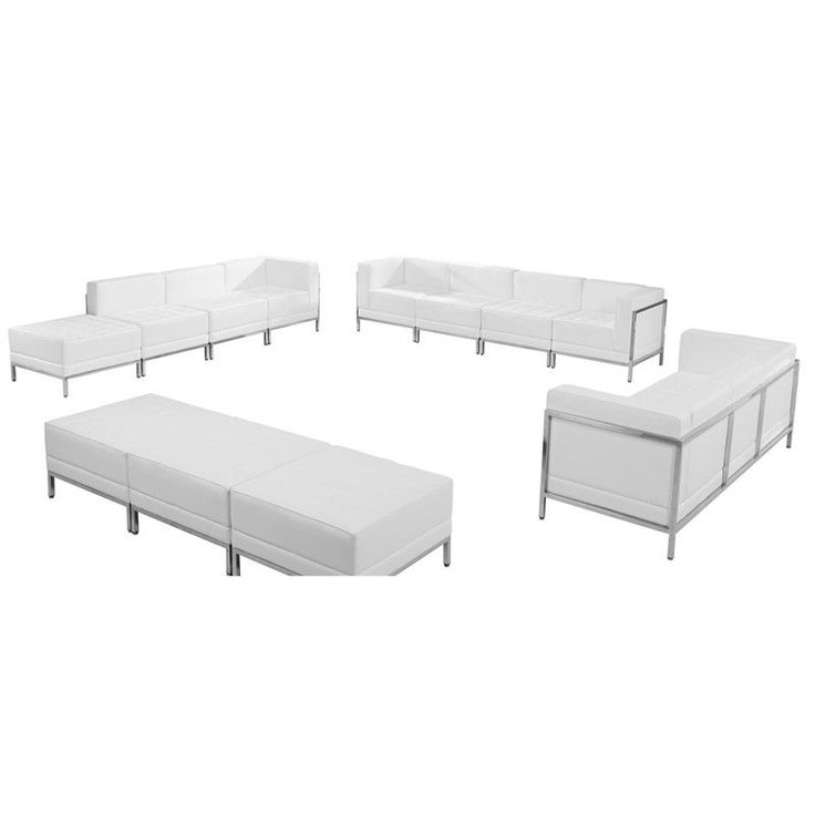 HERCULES Imagination Series White Leather Sofa, Lounge U0026 Ottoman Set, 12  Pieces Part 76
