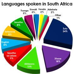 this shows the amount of the population that speak one of those languages that are shown above. the most popular language spoke is Zulu.There are eleven official languages of South Africa: Afrikaans, English, Ndebele, Northern Sotho, Sotho, Swazi, Tsonga, Tswana, Venda, Xhosa and Zulu.