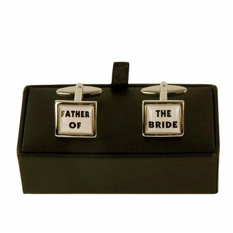 """Manchetknopen """"FATHER OF THE BRIDE"""" Een super origineel en mooi cadeau om te geven aan de vader van de bruid."""