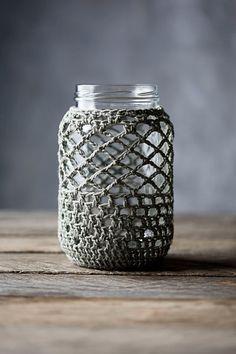 Pure Cotton Crochet Cover for 1 Quart Mason Jar on Etsy